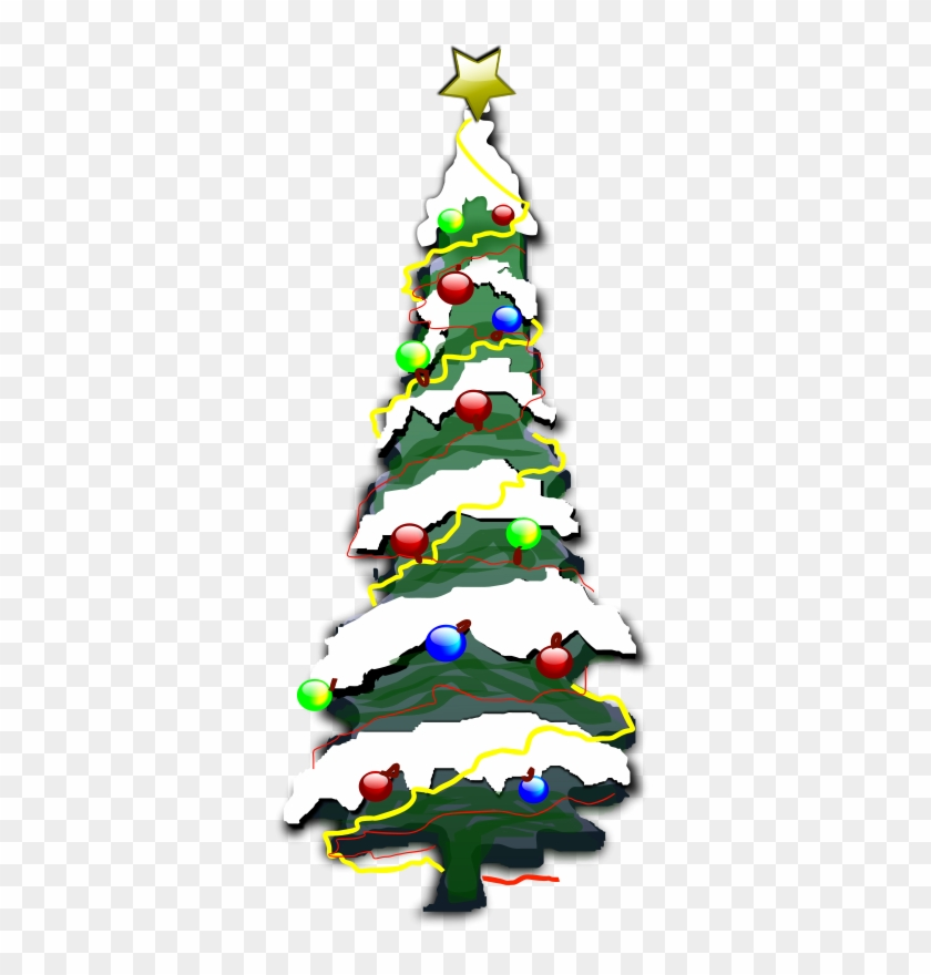Free Christmas 002 - Snowy Christmas Tree Cartoon #23401