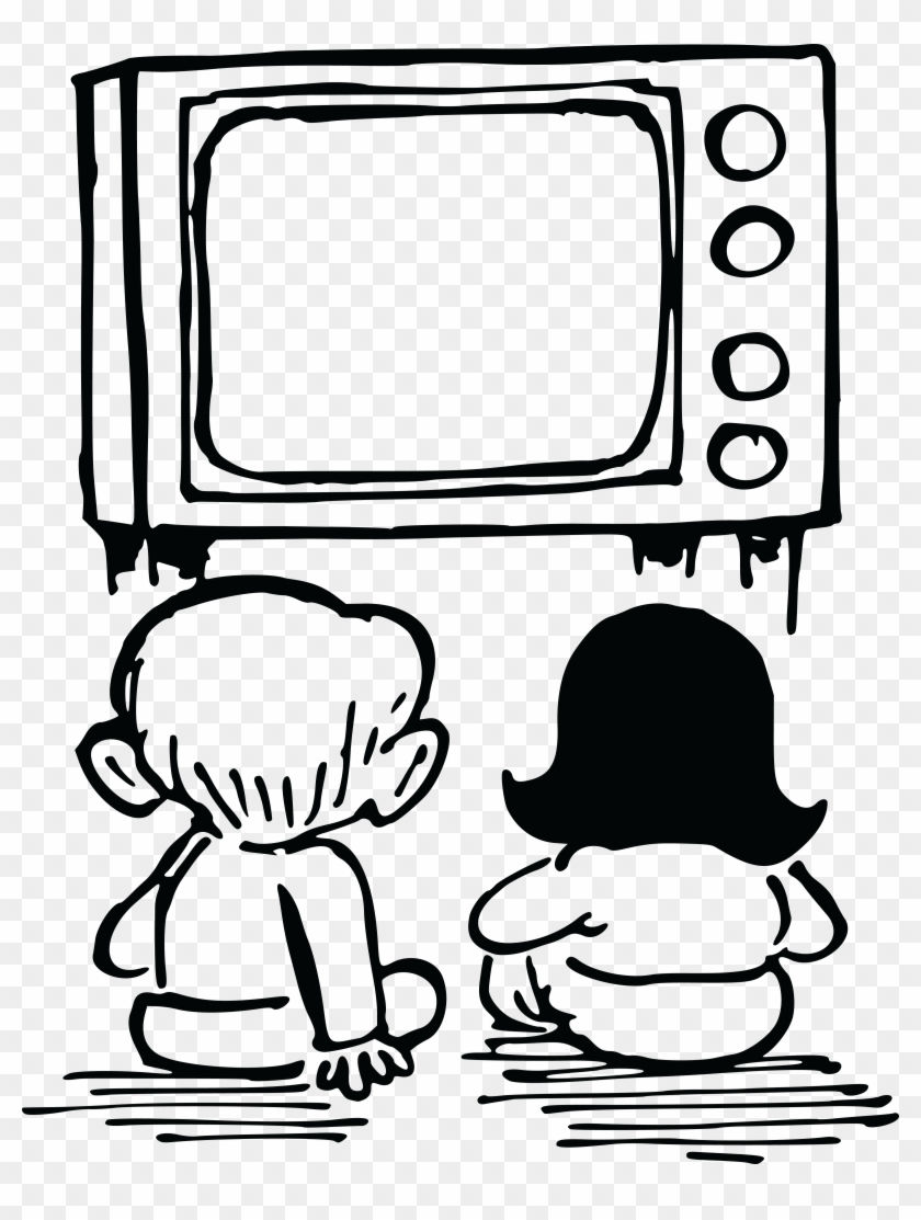 Free Clipart Of Kids Watching Tv - Watch Tv Clipart Black And White #23540