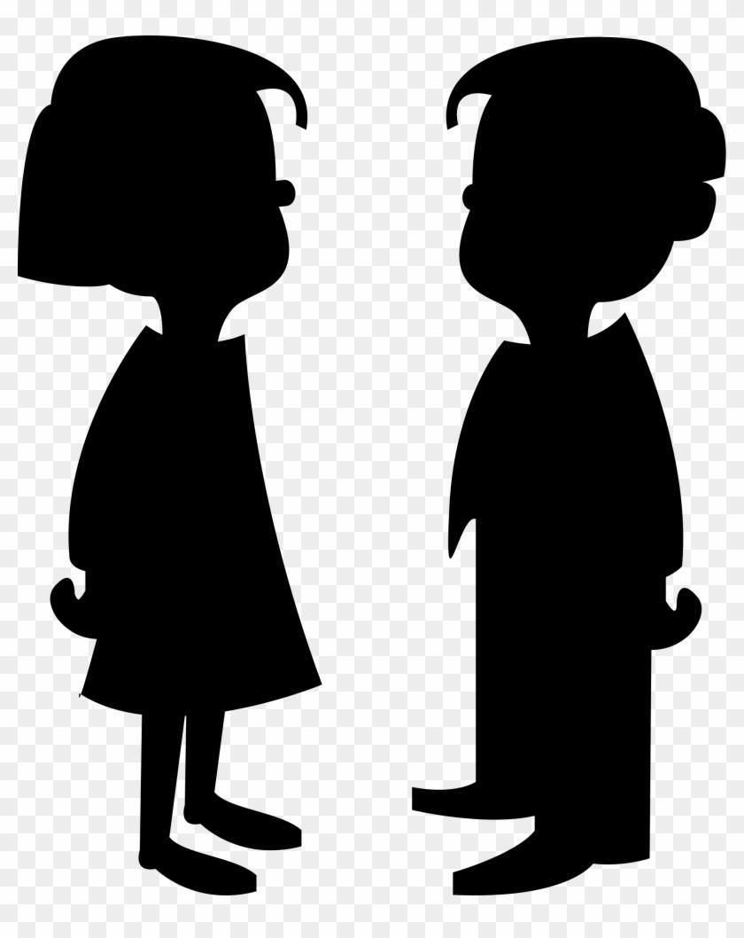 Boy And Girl Silhouette Clip Art - Cartoon Girl And Boy #23660