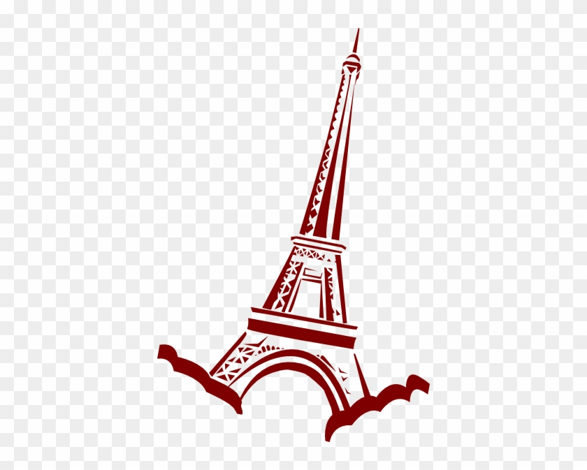 Watercolor Paris Clipart - Red Eiffel Tower Clip Art #23725