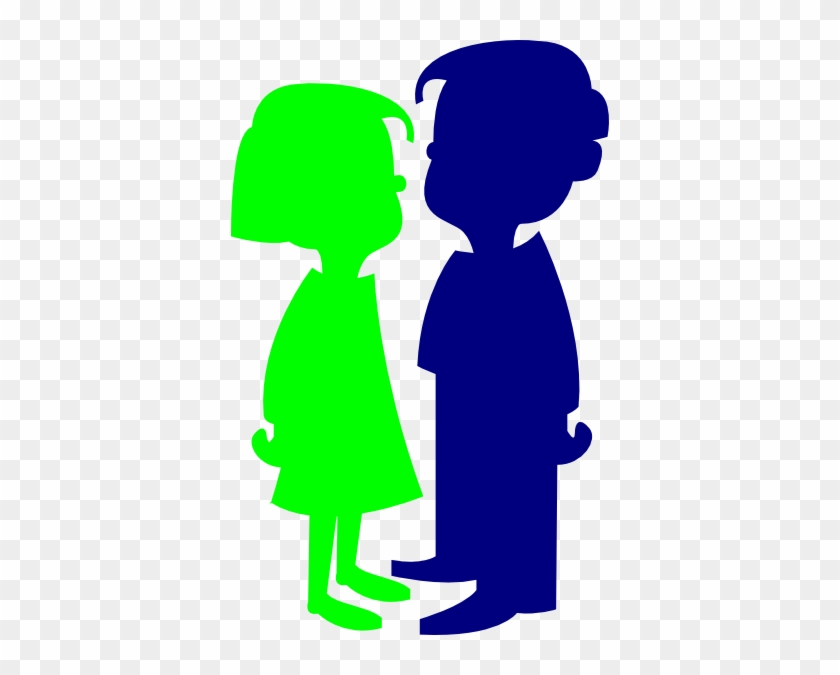 Boy And Girl Green And Blue Clip Art - Cartoon Girl And Boy #23782