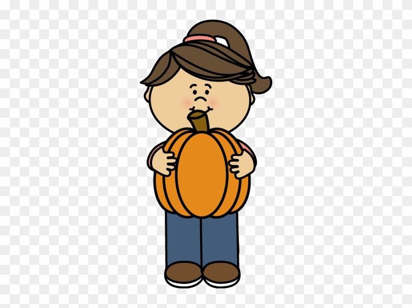 Girl Holding A Pumpkin - Girl Pumpkin Clipart #23793