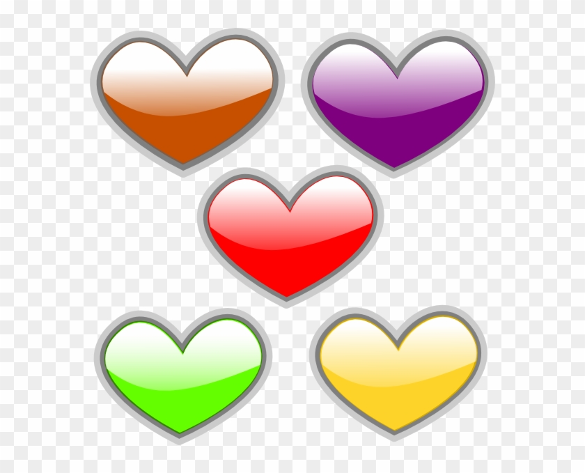 Clipart Five Hearts #23819