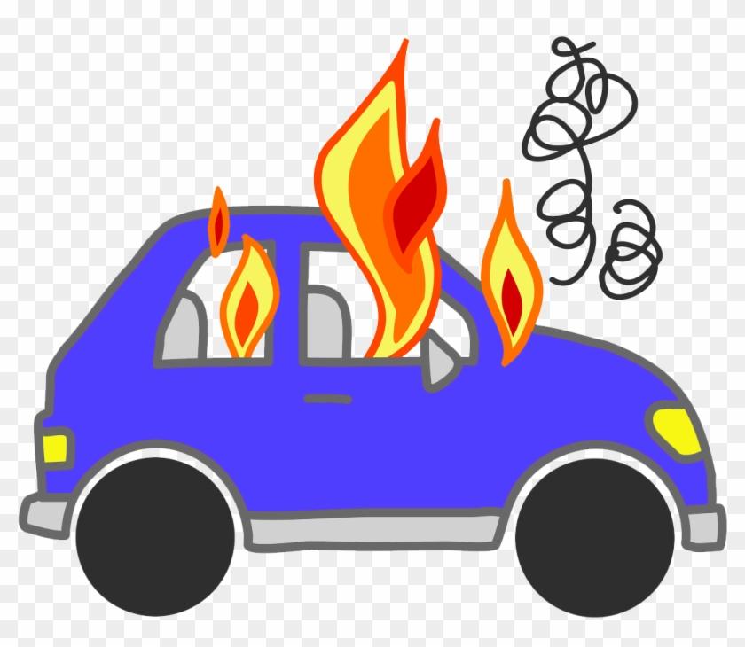Blue Car On Fire - Car On Fire Cartoon #24139