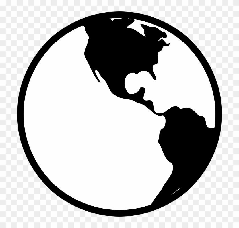 Globe World Earth Black White Americas - Black And White Earth Icon #24223