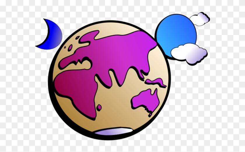 Aussie Earth Colour Outline Vector Clip Art - Earth Clip Art #24292