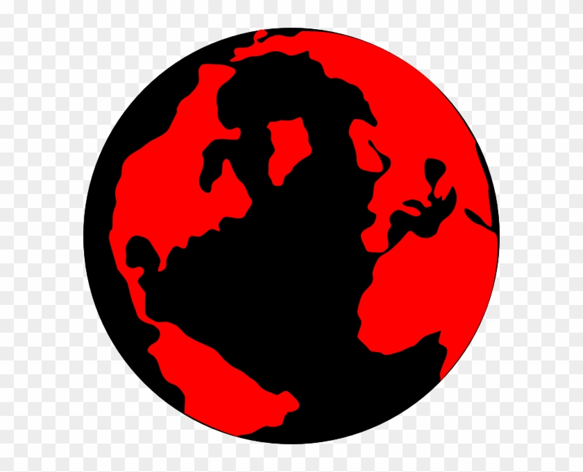 Red And Black Globe Clip Art At Clker - Red And Black Globe #24310