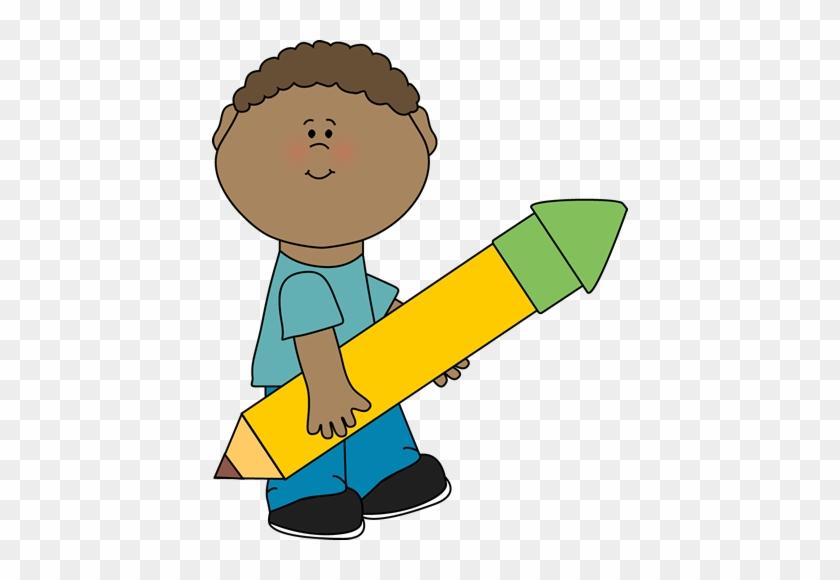 Boy Carrying Big Yellow Pencil - Boy Pencil Clipart #24340