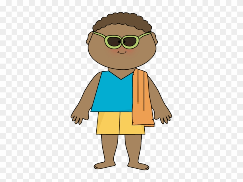 Boy Wearing Sunglasses And Beach Towel Clip Art - He Is Wearing Shorts #24384
