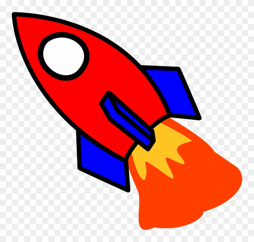 Fire Cartoon Image Free Vector Graphic Rocket Start - Red And Blue Rocket #24385