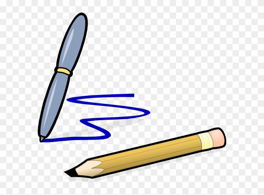Pen And Pencil Svg Clip Arts 600 X 542 Px - Pen And Paper Cartoon #24409