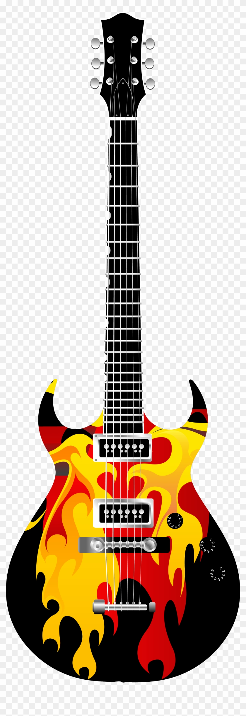 Guitar Clipart On Fire - Electric Guitar Clipart Png #24454