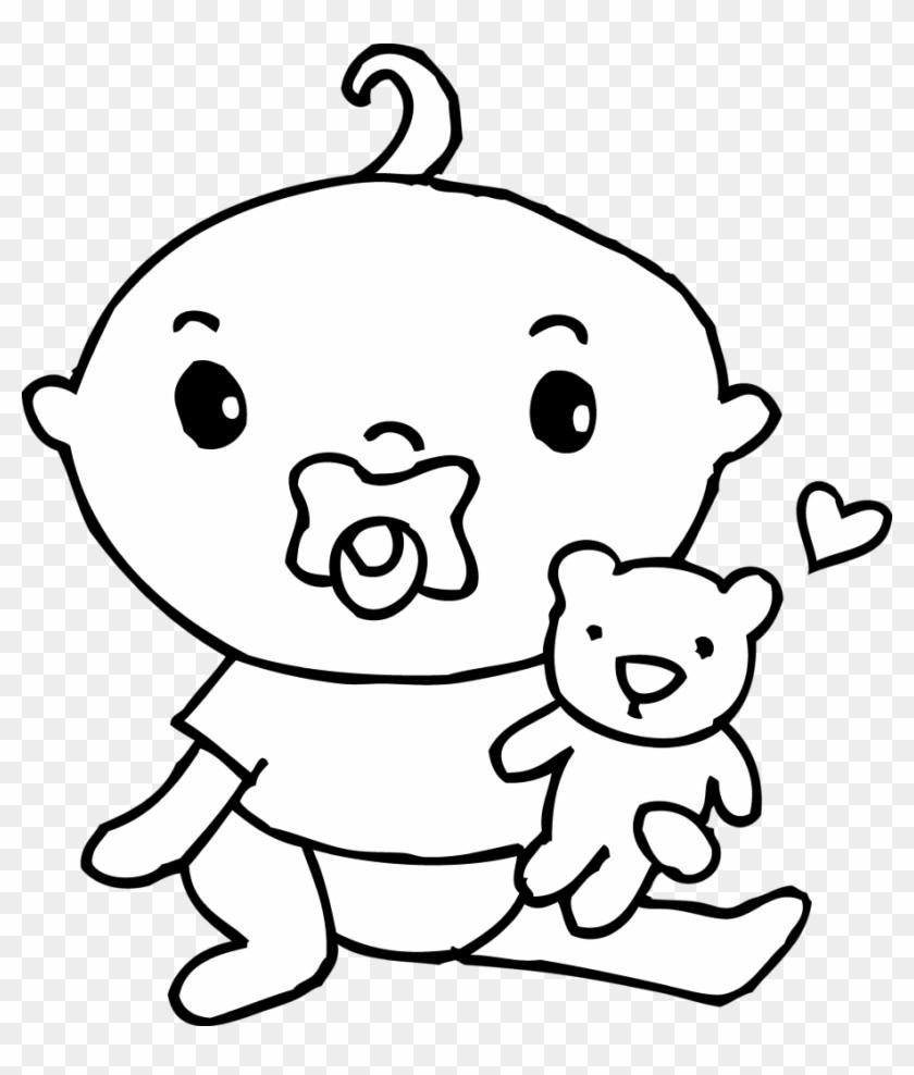 Cute Baby Boy Coloring Page Free Clip Art - Baby Coloring Clip Art #24504