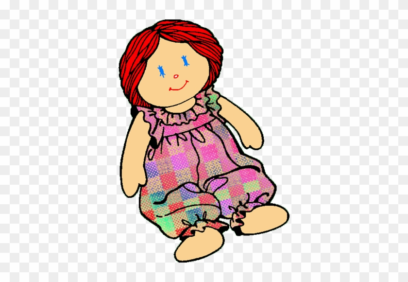 Clipart Of Doll Cartoon Pencil And In Color - Rag Doll Clip Art #24522