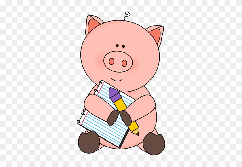 Pig With Notepad And Pencil - Animal With Pencil Clipart #24582
