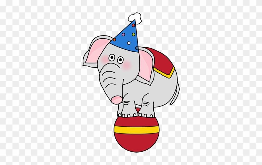 Circus Elephant On A Ball Clip Art - Circus Elephant Clip Art #24593