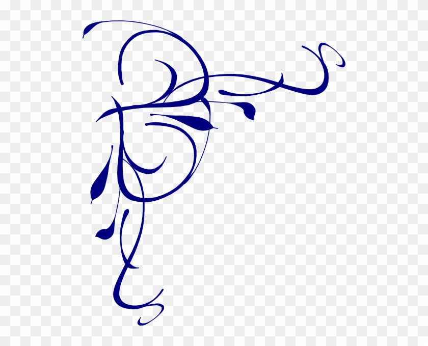Left Floral Swirl Png, Svg Clip Art For Web - Blue Swirl Page Border #24651