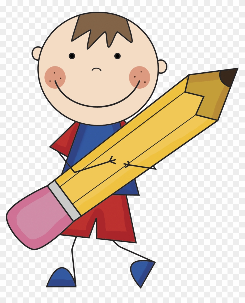 Boy with pencil clipart classroom rules for kindergarten