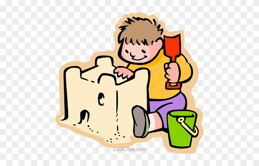 Beautiful Sand Castle Clipart Little Boy Building A - Sand Clipart #24829