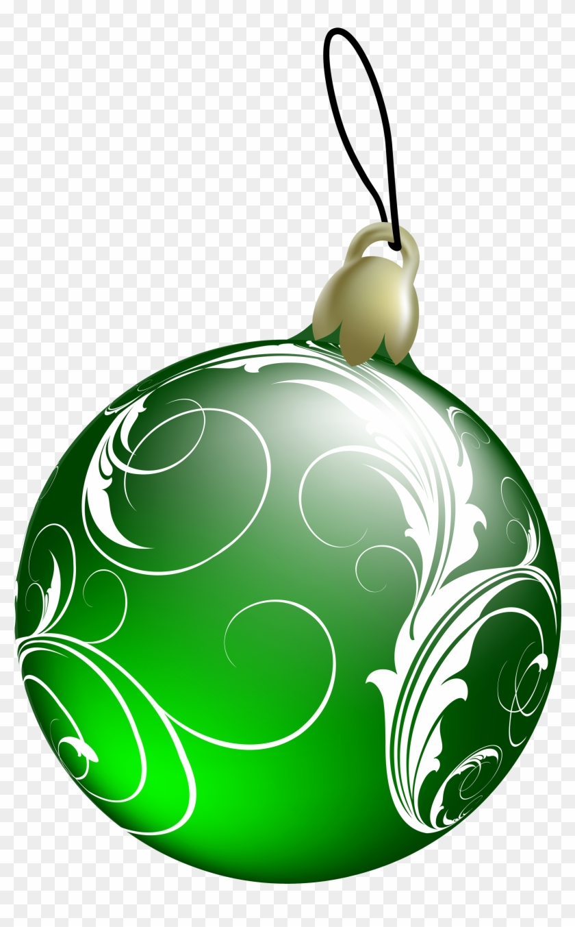 Beautiful Green Christmas Ball Png Clipart - Green Christmas Ornaments Png #24907