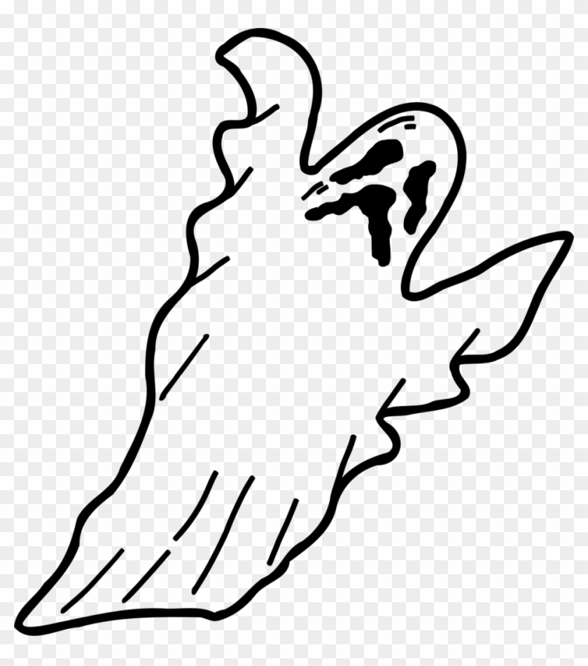 Illustration Of A Ghost - Black And White Magnifying Glass #24959
