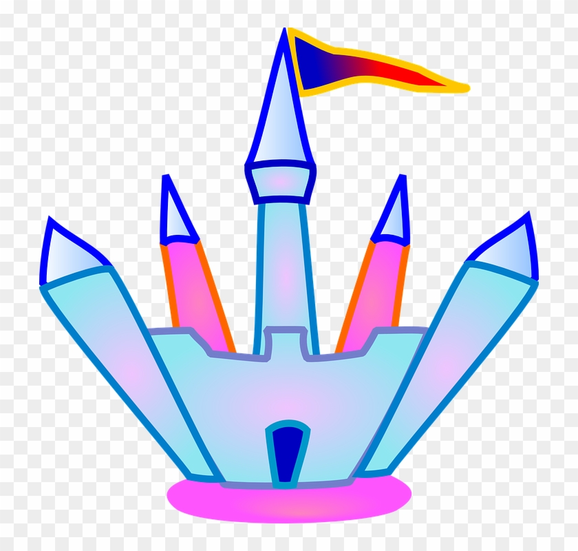 Towers Castle, Flag, Building, Blue, Crystal, Pink, - Castle Clip Art #24973