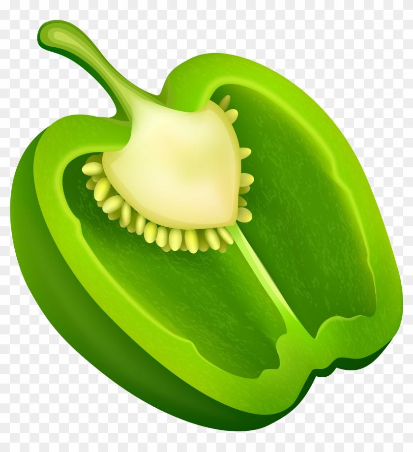 Half Green Pepper Png Clipart - Green Bell Pepper Clipart #24993