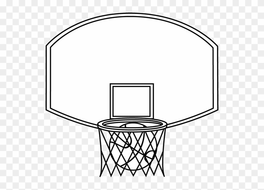 Black And White Basketball Backboard And Ball - Black And White Image Of Basket Ball #25047