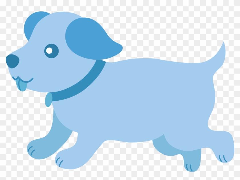 Cute Blue Puppy Running - Blue Dog Clip Art #25136
