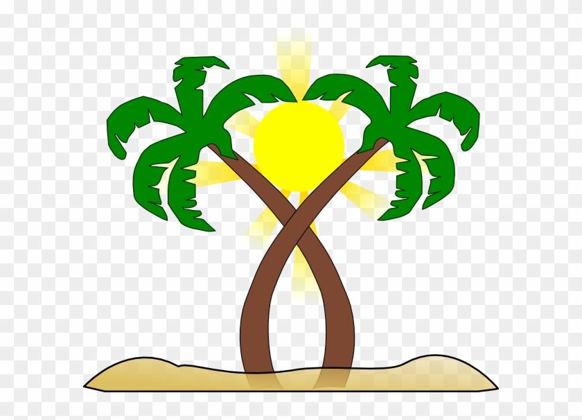 Double Palm Beach Clip Art - Double Palm Tree #25154