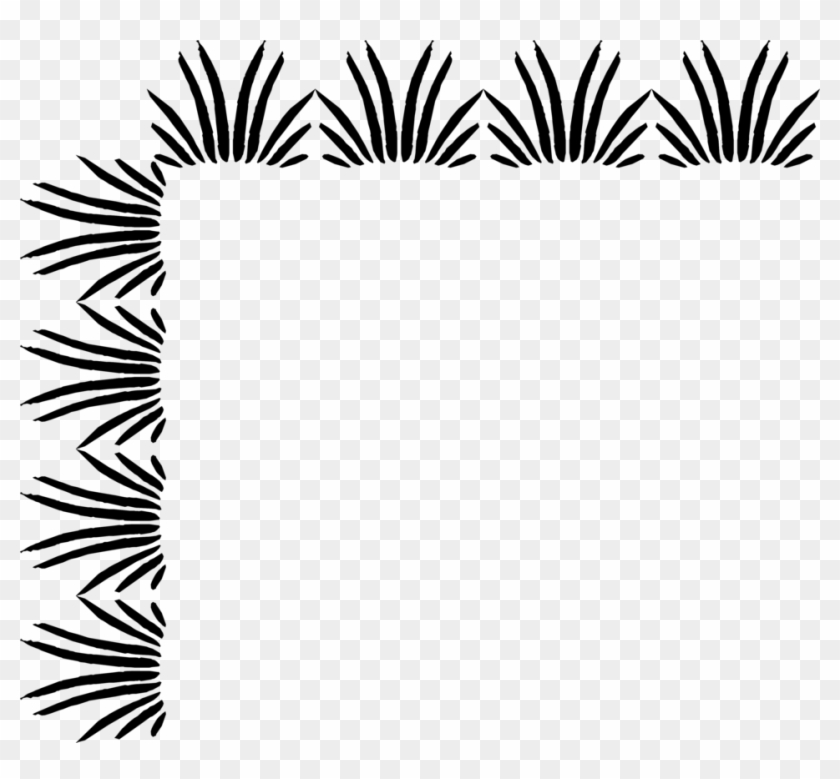 Grass Clipart Corner - Black And White Borders #25310