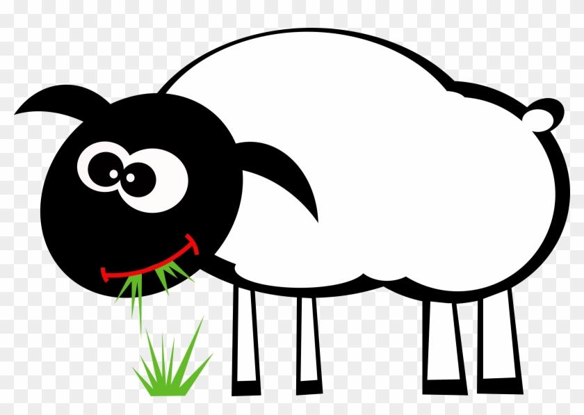Sheep - Cartoon Sheep Eating Grass #25419