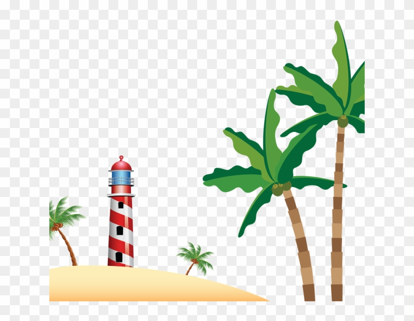 Beach Lighthouse With Coconuts Trees, Beach, Coconuts - Beach #25490