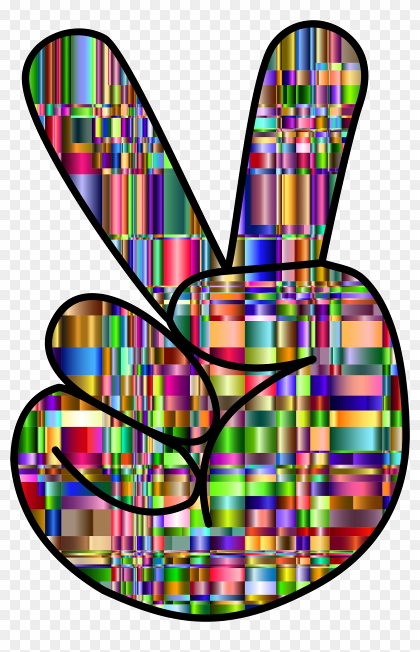 Clipart Checkered Chromaticic Hand Peace Sign - Colorful Hand Peace Signs #25504
