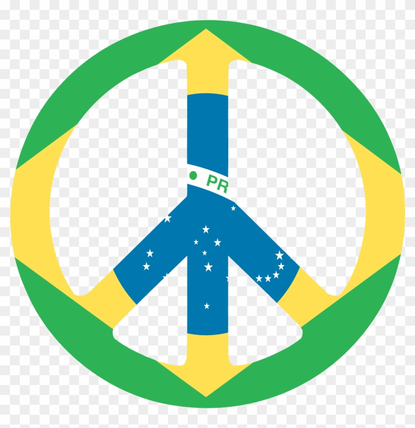 Peace Signs Clip Art Clipart Free To Use Resource - Brazil Peace Flag Sticker (rectangle) #25511