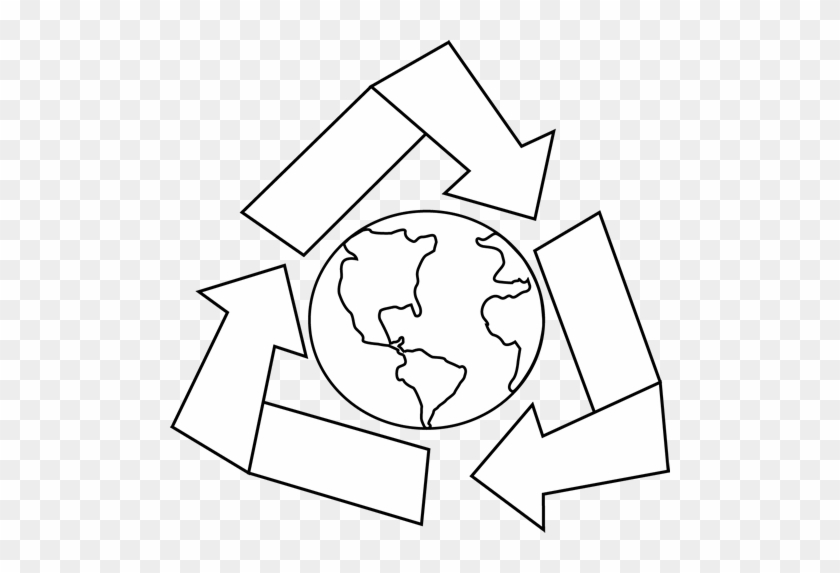 Black And White Earth With Recycle Symbol Clip Art - Illustration #25519