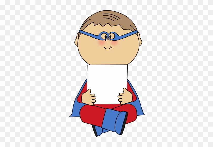 Clipart Boy Holding Blank Sign Superhero A Clip Art - Superhero Holding Sign #25544
