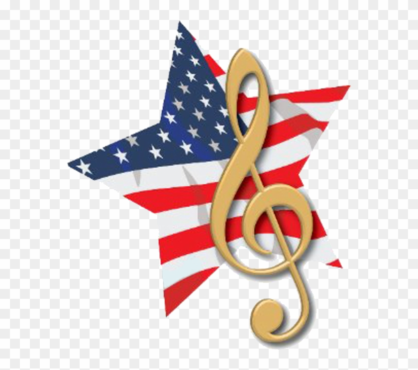 Patriotic Music Clipart - Music Note American Flag #25615