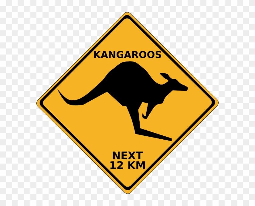 Crossing Kangaroo Sign Hi Clipart - Kangaroo Crossing Sign Clip Art #25738