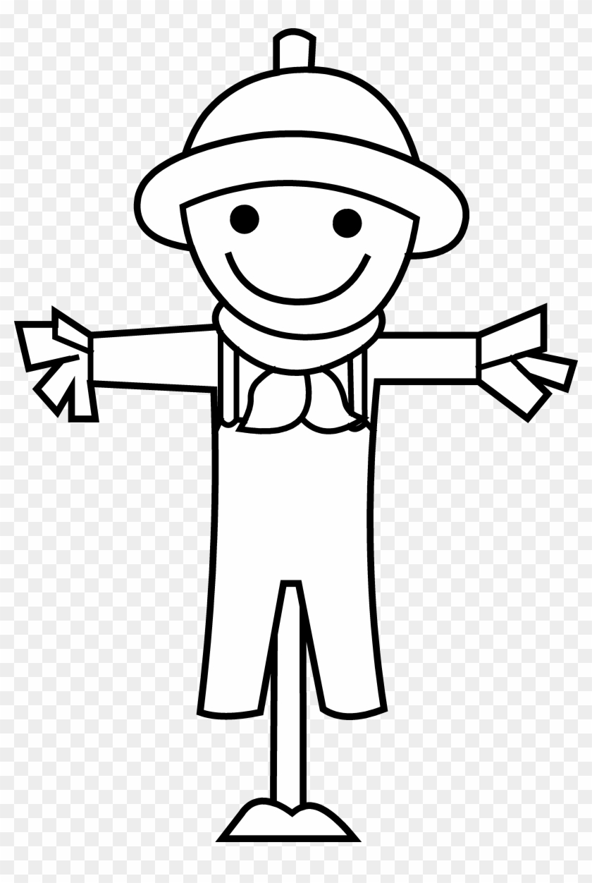 Cute Little Scarecrow Line Art - Scarecrow Black And White Clipart #25847