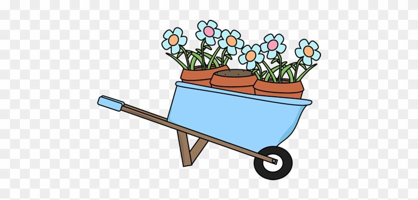 Wheelbarrow And Flower Pots - Cute Gardening Clip Art #25833