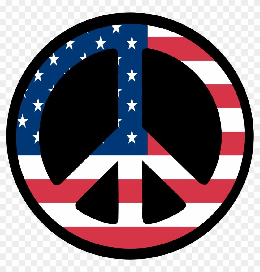 Countries Us Flag Peace Sign 3 Scallywag Peacesymbol - Peace Symbols #25941