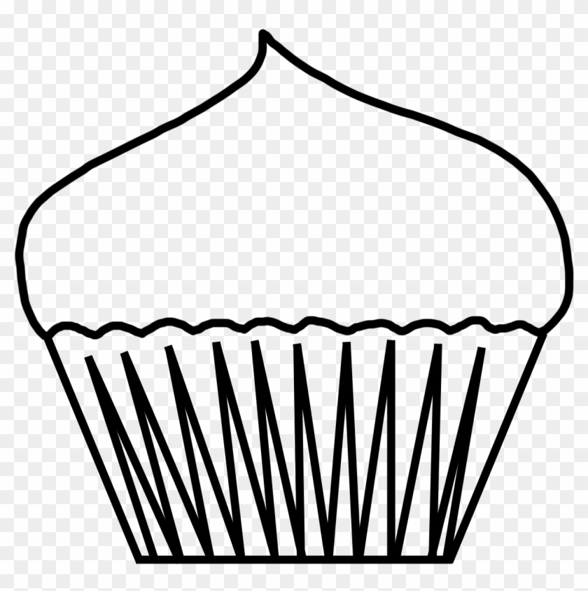 Cupcake Black And White Cute Cupcake Outline Clipart - Cup Cake Outline #25974