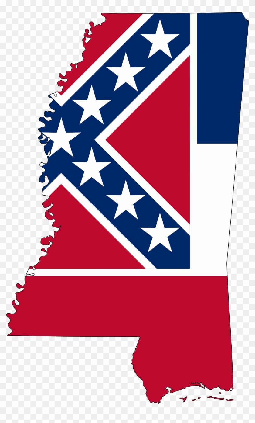 Flag-map Of Mississippi - Mississippi State Flag Map #26212