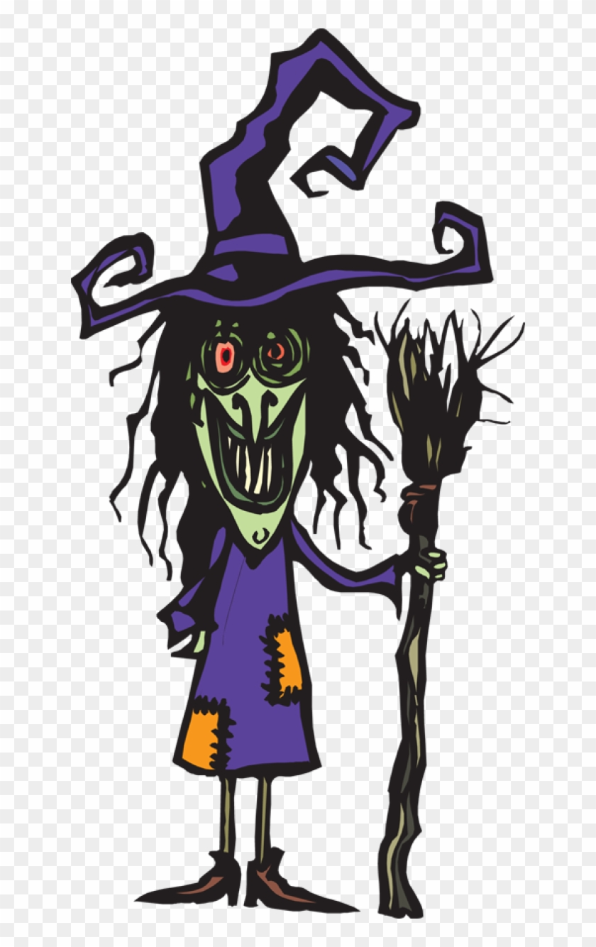 Ugly Witch With Her Broom - Ugly Witch Clipart #26239