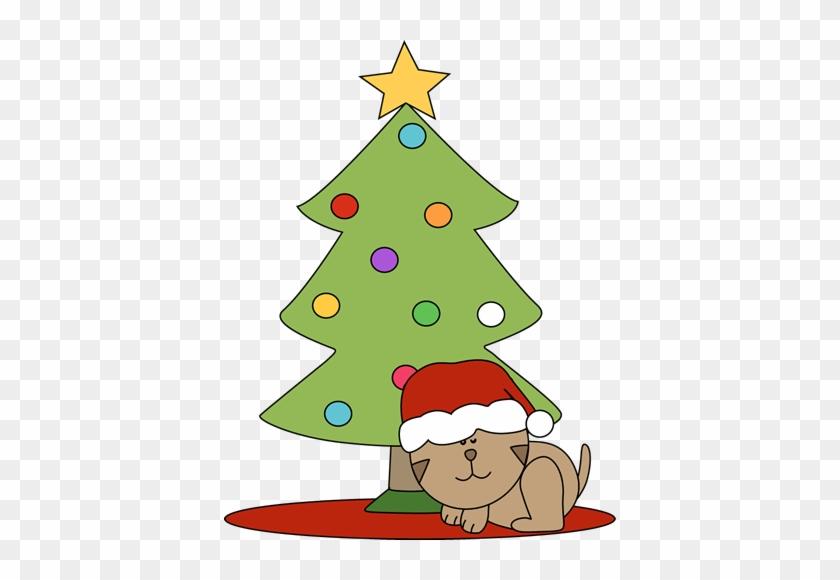 Cat Sleeping Under A Christmas Tree Clip Art - Christmas Cat Clip Art #26281