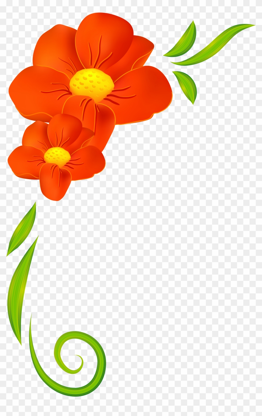 Floral Clipart Decoration - Flowers Border Clipart Png #26300