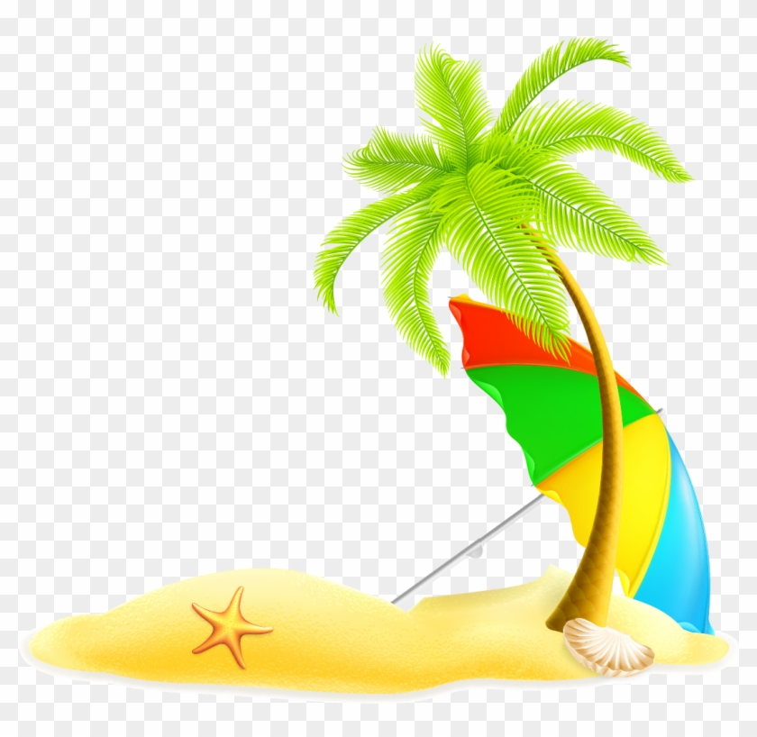 Beach Summer Illustration - Transparent Coconut Tree Clipart #26295