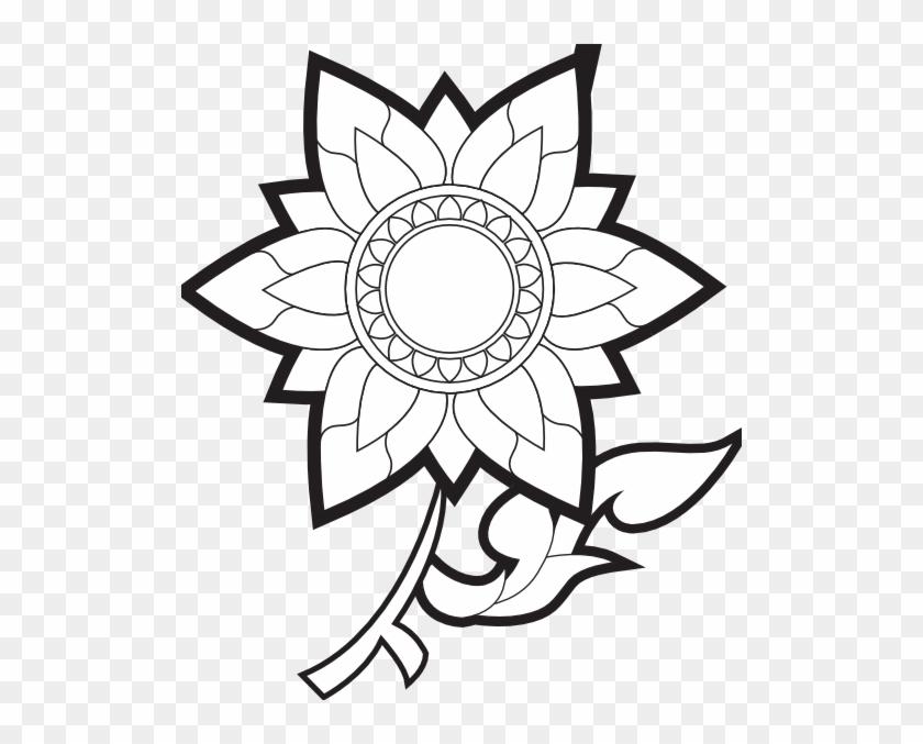 Flower Clip Art Free Black And White - Clip Art Black And White Of A Flower #26387