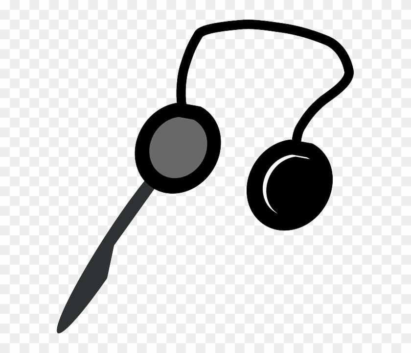 Computer, Black, Internet, Chat, Silhouette, Cartoon - Headphones Clip Art #26404